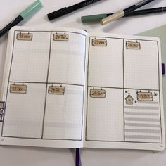 Bullet journal weekly layout, wooden sign drawings, birdhouse drawing. | @christina77star