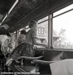 Main Street Train Station Passenger Car Interior at Disneyland, 1955.