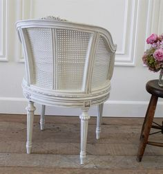 Antique French Cane Barrel Chair from Full Bloom Cottage French Farmhouse, French Country, Rooms Home Decor, Living Room Decor, French Sofa, Farmhouse Chairs, Cane Furniture, Bed Rooms, Barrel Chair