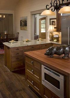 Again with the under counter microwave. But what the hell is the pig doing there? And I'd rather the lighting was fixed, instead of taking up space on the counter.