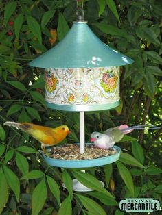 Floral Cookie Tin Bird Feeder Repurposed Upcycled