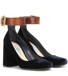 PRADA Velvet And Leather Pumps. #prada #shoes #pumps