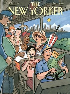The New Yorker Cover - July 1997 Poster Print by R. Sikoryak at the Condé Nast Collection The New Yorker, New Yorker Covers, Train Illustration, Magazine Art, Magazine Covers, Ligne Claire, Map Globe, Thing 1, Illustrations And Posters