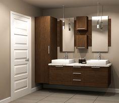 White double sink bathroom vanity cabinets bathroom vanity in small Laundry Room Bathroom, Double Sink Bathroom, Bathroom Vanity Cabinets, Upstairs Bathrooms, Wood Bathroom, Bathroom Renos, Bathroom Furniture, Modern Bathroom, Small Bathroom