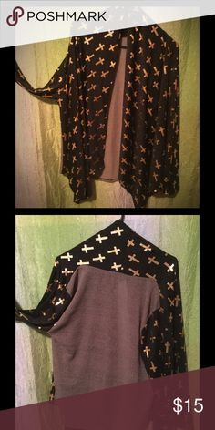 Gold Cross Printed Cardigan New Sweaters Cardigans