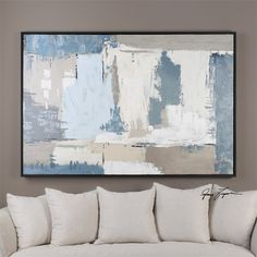 Uttermost - Falling Springs Falling Springs Item #35336 Hand painted abstract on canvas featuring rich blues, grays and tans with heavy texturing. Canvas is stretched and attached to wooden stretchers then encased in a narrow black satin frame. Due to the handcrafted nature of this artwork, each piece may have subtle differences. Designer: Grace Feyock Dimensions: 49 W X 73 H X 2 D (in) Weight (lbs): 25 Ship Via UPS: No UPC Number: 792977353363 Availability: In Stock
