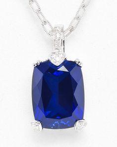 Judith Ripka Silver 15.94 cttw. Corundum & Sapphire Pendant with Chain
