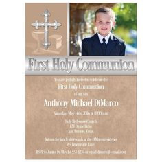 First Holy Communion Invitation | Photo Template | Brown