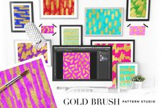 Gold Brush Pattern Studio by Creators Couture on @creativework247