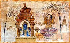 Indra worshipping Shiva, Brihadeeswara temple, Tamil Nadu