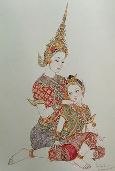 """""""Inao & the little Siyatra"""", 1977, watercolor on paper, by Chakrabhand Posayakrit, a Thai national artist"""