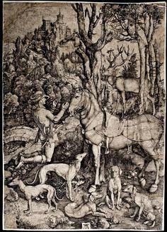 DURER, Albrecht (1471-1528) / Saint Eustace (Saint Eustache) (Saint Hubertus) / 1501 / engraving  São Eustáquio fora um militar romano que se converteu após ter uma visão nos bosques de Jesus e seus anjos; após sua conversão sofreu diversos martírios porém manteve sua fé. Devido a sua pregação, fora condenado a morte junto de sua familia - sendo a sentença cumprida cozinhando-os dentro de um touro de bronze. É santo patrono dos caçadores.