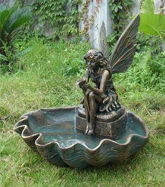 $299   Sunnydaze Fairy Shell Outdoor Fountain