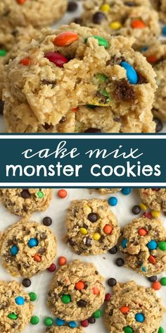 Cake mix cookies with a monster cookie twist. A yellow cake mix, peanut butter, oats, chocolate chips, and m&m's create a thick soft-baked cookie.