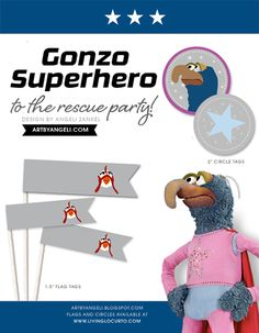 Superhero Gonzo Muppet Birthday Party Ideas & Free Printables! Design by Angeli via LivingLocurto.com