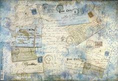 Rice Paper for Decoupage Decopatch Scrapbook Craft Sheet Vintage Blue Letters