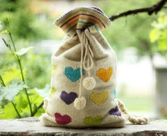White Handwoven Backpack With Color Hearts  by TheColorfulLoom, $92.00
