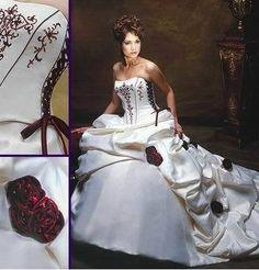 White and Burgundy Bridal Gown Wedding Dress Custom Size Wedding Dress Train, Wedding Dress Sizes, Bridal Wedding Dresses, Cheap Wedding Dress, Ball Dresses, White Burgundy, Burgundy Flowers, Burgundy Wedding, Ivory Wedding