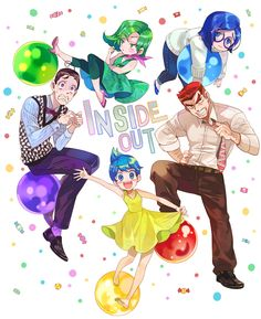 Fan art of P.I.X.A.R.'s Inside Out characters ( humanised )