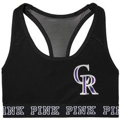 PINK Colorado Rockies Ultimate Racerback Bra ($30) ❤ liked on Polyvore featuring intimates, bras, pink, racerback bra, pink bra and racer back bra