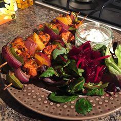 Spicy turkey kebabs with salad and raita Kebabs, Eating Well, Feel Good, Spicy, Turkey, Salad, Wellness, Eat Right, Feeling Great Quotes