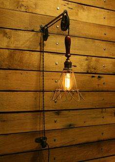 Industrial Trouble Light Pulley Sconce Wall Mount with Cage Light Pendant Lamp | eBay