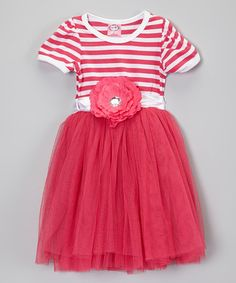 Take a look at this Hot Pink Stripe Tutu Dress - Toddler & Girls by Kosse Designs on #zulily today!