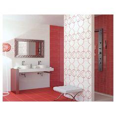 Carrelage salle de bain : Une salle de bain rouge, pour la passion et la puissance. On voit la vie en rouge avec cette collection de carrelage Dance Rojo.