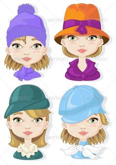 Set of Hats  ...  accessories, beauty, clothing, elegance, fashion, girl, graphics, hats, illustrazine, image, models, vector, woman