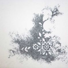 Interesting - create a pattern using white space - running stitches outline the pattern (see detail). Roanna Wells
