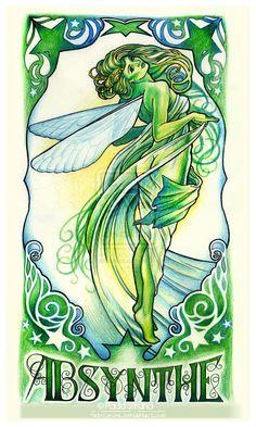 Mucha Absinthe Fairy by hatefueled.deviantart.com on @deviantART
