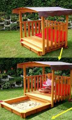 Want this for the kids without the sandbox.would make such a cute outdoor reading nook! pp said: tuck away sandbox.we need an Upgrade! outdoor inspiration for kids. Outdoor Projects, Wood Projects, Playground Sand, Playground Ideas, Outdoor Fun, Outdoor Decor, Outdoor Ideas, Outdoor Games, Outdoor Playset