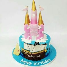 Carlos Bakery Facebook post: A Princess and a Pirate Birthday Cake.