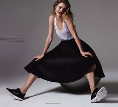 SNEAKERS KICK TRAINERS EDITORIAL MINIMAL CHIC LEAN LOOKS Harper's Bazaar UK  Model: Natalia Vodianova  Photographer: Jean-Baptiste Mondino  Styled by: Cathy Kasterine BEAUTY RED LIPS LIPSTICK HAIR SHORT WAVY OMBRE LONG BOB LOB WHITE SHEER TANK TOP BLACK SATIN MIDI SKIRT BLACK NIKE FREE SNEAKERS