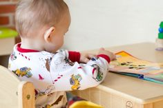 Montessori for Babies: The Weaning Table. Nice description and pics of a 11-month-old learning to do activities at a table and not a highchair. (I used a stool and an upside down storage box when my son was a tot!) - time to get booster seats sorted for my youngest I think