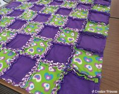 Yesterday was Jalynn's crocheted blanket, today is Jordyn's rag quilt.         I found the idea and tutorial on JoAnn's website here .     ...
