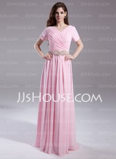 A-Line/Princess V-neck Floor-Length Chiffon Mother of the Bride Dresses With Ruffle Beading (008015874) - JJsHouse