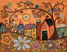Barn Cat 11x14 ORIGINAL CANVAS PAINTING houses birds FOLK ART PRIM Karla Gerard #FolkArtAbstractPrimitive #catcanvaspainting
