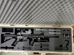 Pelican 1720 case with Custom Foam for an and a Glock Gun cases. Ammo Storage, Weapon Storage, Pistol Case, Pelican Case, Mini 14, Tactical Rifles, Tac Gear, Gun Cases, Snipers