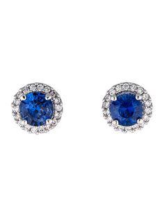 Rina Limor 14K Sapphire and Diamond Stud Earrings