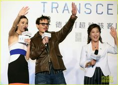 Johnny Depp attending a press conference for his new movie Transcendence in Beijing, China