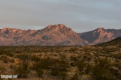Sun setting on the Chisos Mountains. Big Bend National Park, Texas. Photography by Tim Speer