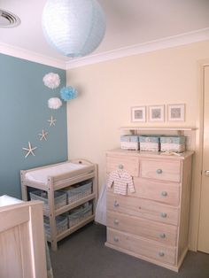 Gorgeous beachy nursery!! LOVE! My next baby's room will look like this either pink or blue it's so cute either way & was our wedding theme.