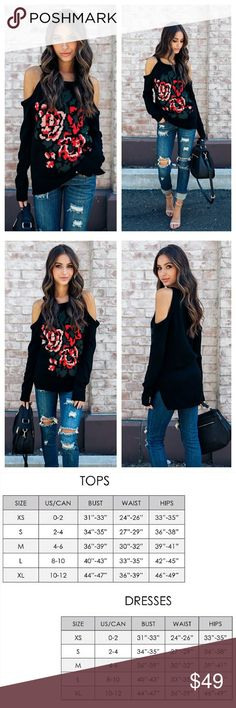 """🆕️ black cold shoulder rise floral sweater Black cold shoulder sweater with front woven rose floral design   100% acrylic  Model is 5'7 and wearing small. Small is 27"""" from shoulder to hem. Sweaters"""