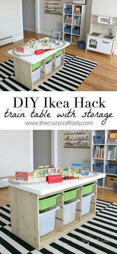 An Ikea Hack Train & Activity Table - The Crazy Craft Lady - Tuff, Tuff, Tuff – die Eisenbahn, wer will mitspielen? Ein ganz einfacher Ikea H - Craft Table Ikea, Craft Tables With Storage, Craft Room Tables, Table Storage, Diy Storage, Ikea Kids Table, Storage Organization, Train Table With Storage, Organizing Tips