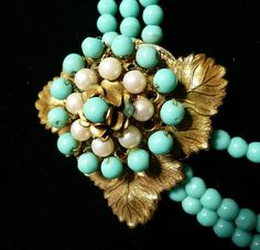 Miriam Haskell Signed Turquoise and Pearl Necklace 1960s via Etsy