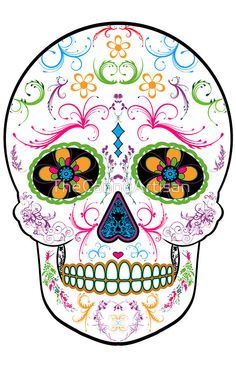 Day of the Dead Sugar Skull - Bright Multi Color by TheCannyArtisan