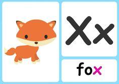 X alphabet flashcards Phonics Alphabet Song, Zoo Phonics, Learning Phonics, Alphabet Cards, Phonics Reading, Phonics Chart, Phonics Flashcards, Flashcards For Kids, Phonics Sounds