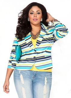 4a1ed8fe29f Ashley Stewart  Striped Ponte Cropped Blazer ... I love everything about  this outfit