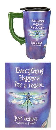 """""""Just Believe"""" Dragonfly Ceramic Travel Mug at The Hunger Site Purchase funds 25 cups of food. Black Friday Deals at GreaterGood Network, Gifts That Give American Proverbs, Dragonfly Art, Dragonfly Quotes, Animal Rescue Site, Just Believe, Faith In Love, Pet Store, Things To Buy, Fun Things"""